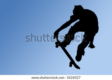Silhouette of a boy on a skateboard isolated on a blue gradient background with a clipping path