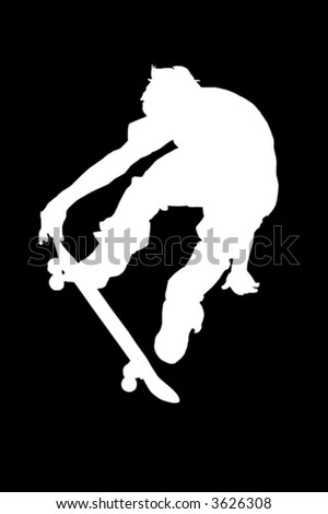 Silhouette of a boy on a skateboard isolated on a white background with a clipping path - stock photo