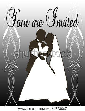 Silhouette of a Bride and groom on silver gradient background
