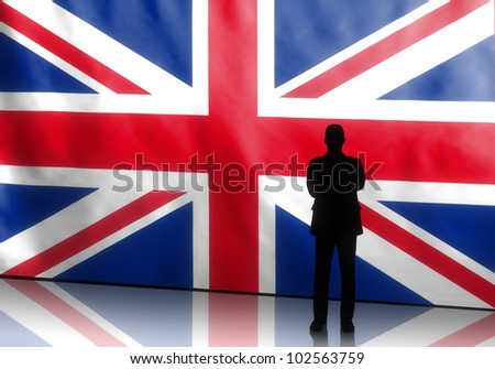 Silhouette of a british politician with arms crossed on flag background