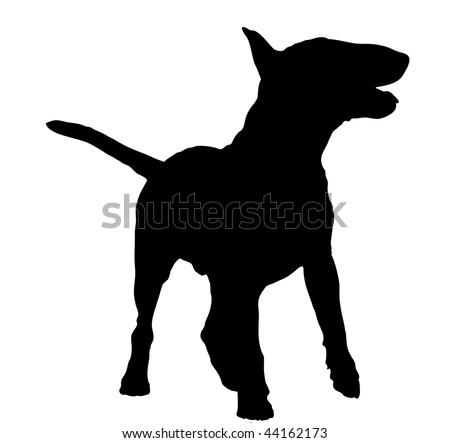 silhouette of a bull terrier standing - illustration