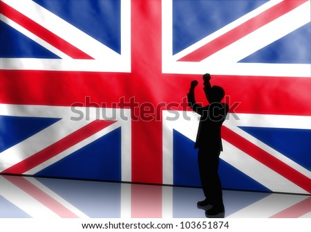 Silhouette of a cheering british politician on flag background