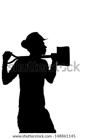 Silhouette of a  Construction builder worker with a shovel