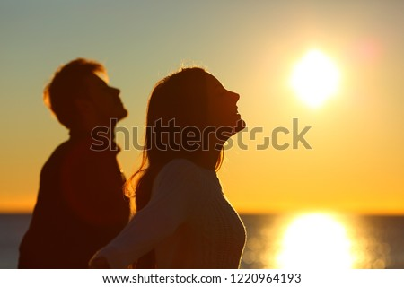 Silhouette of a couple of friends breathing deep fresh air at sunset on the beach #1220964193