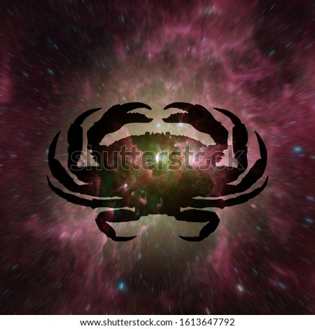 Silhouette of a crab for Cancer symbol which is the fourth sign of the zodiac against a galaxy of stars. Elements of this image furnished by NASA. Stock foto ©