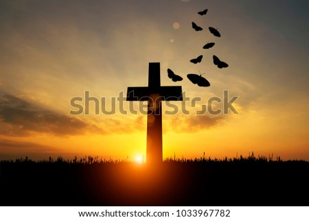 silhouette of a cross of faith, Easter day,Concept of rebirth, rebirth