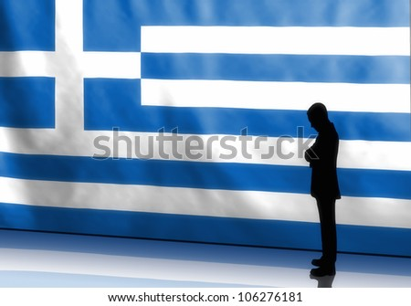 Silhouette of a depressed greek businessman on flag background