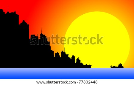 Silhouette of a downtown cityscape at sunset