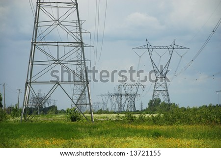 Silhouette of a electric high voltage steel pylons