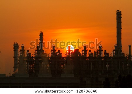 Silhouette of a factory in the morning #128786840