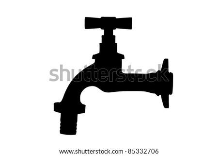 Silhouette of a faucet isolated on white background