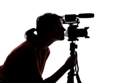 Silhouette of a female indie filmmaker, online content creator or casting director with a camera and mic on a white background