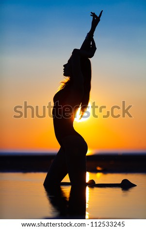 Silhouette of a fit woman on the beach at sunset