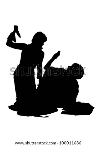 silhouette of a girl beats other girl with a knife, isolated on