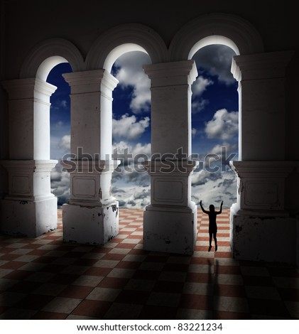 Silhouette of a girl flashing a victory sign while jumping between a medieval architectural mason column on a red and white checker flooring against a surreal blue cloudy sky.