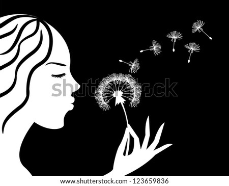 silhouette of a girl in profile blowing on dandelion