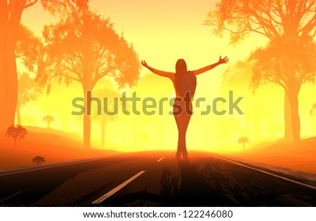 Silhouette of a girl on the road.