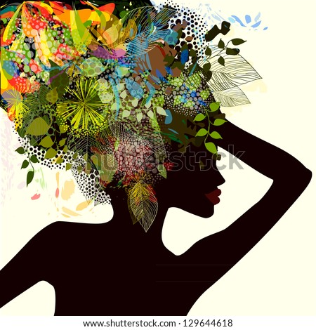 silhouette of a girl with flowers. Raster