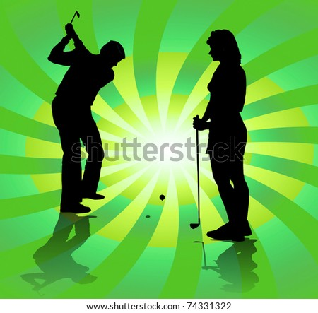 Silhouette of a golfer in full use