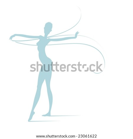 Silhouette of a graceful dancer handling a transparent waving veil. Large format full resolution.