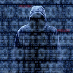 Silhouette of a hacker isolated on black with binary codes on background