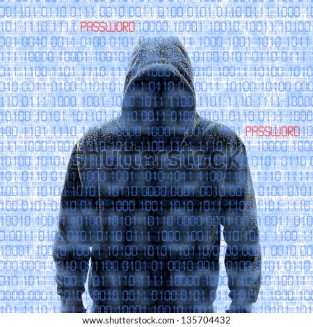 Silhouette of a hacker isolated on white with binary codes on background