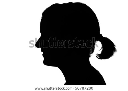 silhouette of a happy girls profile isolated on white