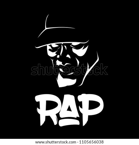 Silhouette of a head in a cap and a stylish inscription rap