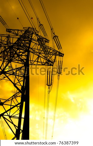 Silhouette of a high voltage post