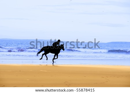 Silhouette Of A Horse And Rider Galloping On Ballybunion Beach At ...