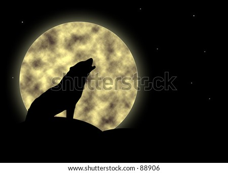 Silhouette of a howling wolf against a full moon