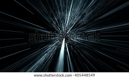 silhouette of a human figure moving in the space through the teleport, hyperspace jump