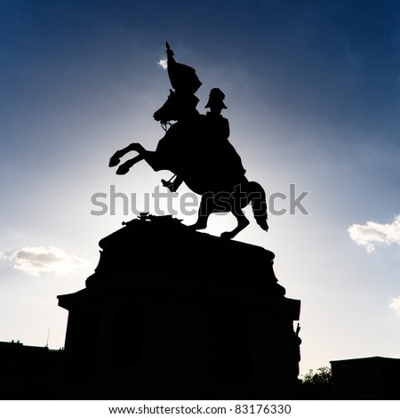 silhouette of a knight against dark blue sky, heldenplatz wien