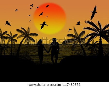 Silhouette of a lovers couple under palm trees at sunset, background illustration