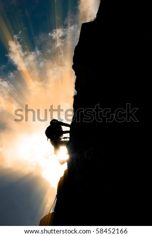 Silhouette of a man during an ascension in Retezat mountains.