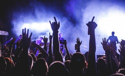 Silhouette of a man hands up in the air in a crowd during a concert holding a beer can