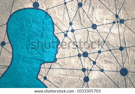 Silhouette of a man. Head side view. Mental health relative brochure, report or leaflet design template. Scientific medical designs.