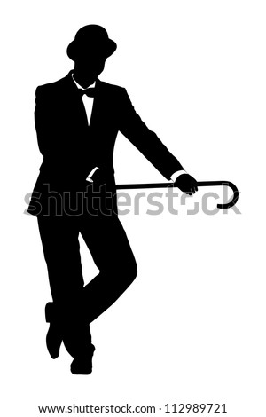 Silhouette of a man in suit holding a cane isolated on white background