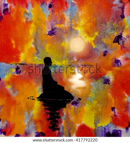 silhouette of a man in the lotus position on an abstract
