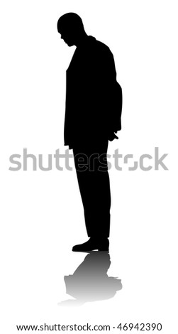 Silhouette of a man on white background