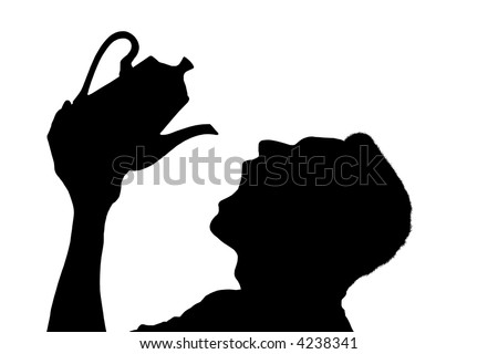 Silhouette of a man pouring tea into an open mouth over white background