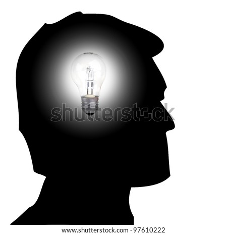 Silhouette of a man with a light bulb on is head to illustrate the concept of having and idea