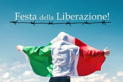 silhouette of a man wrapped in Italy flag - April 25 Liberation Day Text in italian card,