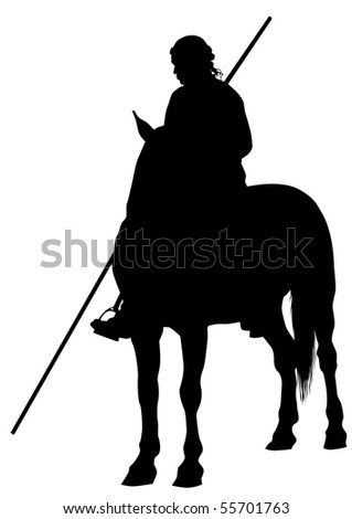 Silhouette of a medieval knight with a spear on horseback