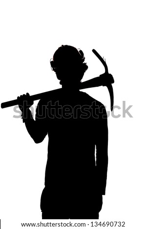 silhouette of a Mine worker with helmet and pick