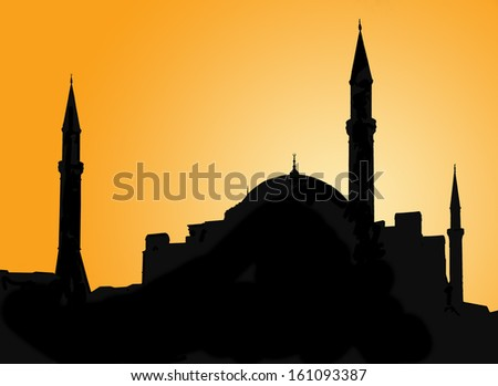 Silhouette of a mosque in Istanbul against evening sky