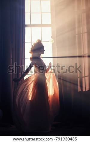 Silhouette of a mysterious fairy woman on the background of the window in the sunlight. Girl in the sunlight of the early morning sun