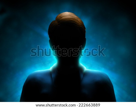 Silhouette of a mysterious figure with a strong blue back-light. Digital illustration. #222663889