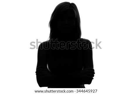 silhouette of a pensive woman on a white background #344645927