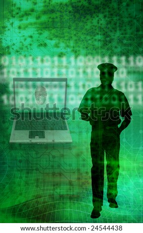 silhouette of a police officer beside a laptop with fingerprint, as concept for internet crime